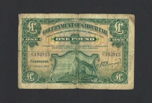 GIBRALTAR 1927 1 Pound, P-12, Scarce, First Date of Issue, Prefix C Only