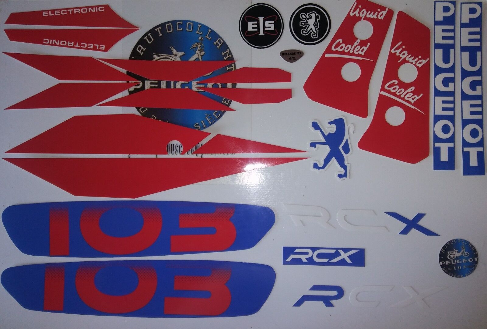 Autocollant Peugeot 103 RCX LC M 1991 Bleu/Rouge.