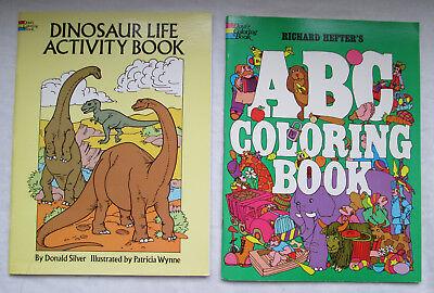 Vintage Dinosaur Life Activity Book & ABC Coloring Book 1973 1988 Dover