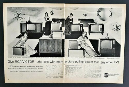 RCA VICTOR TV~1961~Original VINTAGE Magazine Print Ad~SPREAD