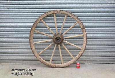 Vintage wooden cart wagon wheel old original wooden wheel 112 cm / 37.5 kg #