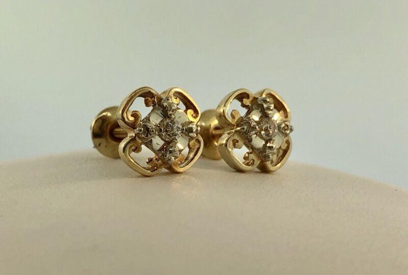 Art Deco 14K Yellow White Gold Diamond Quatrefoil Screw Back Stud Earrings
