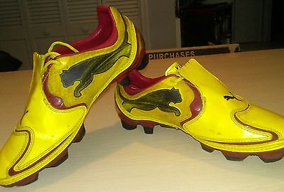 Puma v1.10 Boys Soccer Cleats / Boots - Yellow Size 4