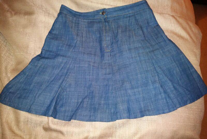 Wayf size small skirt blue chambray fully lined made in USA
