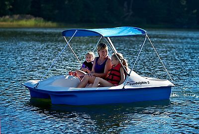 Covered Paddle Boat Pedal 5 Person Canopy Cooler Storage Area UV Protected Shade