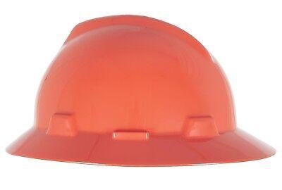Msa V-gard Full Brim Hard Hat With Fas-trac Ratchet Suspension Orange