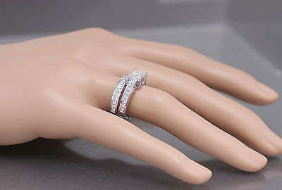 GIA H-VS2 14k white gold princess cut diamond engagement ring and band 2.00ctw 3