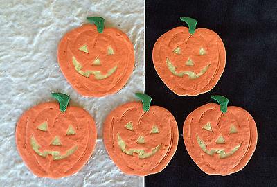 5 Pumpkins Halloween Jack-O-Lanterns pumpkin mulberry paper invitations Cards (Halloween Paper Lanterns Craft)