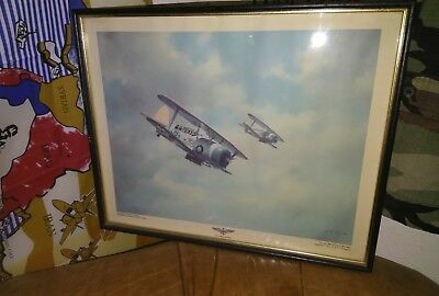 R.G. Smith Military Print Art SBC-4 World War 2 Scout Bomber, U.S.S. Lexington , used for sale  Citrus Heights