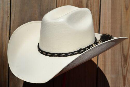 "3/8"" Braided Horsehair Hatband Single Side Tassel - Black & White"
