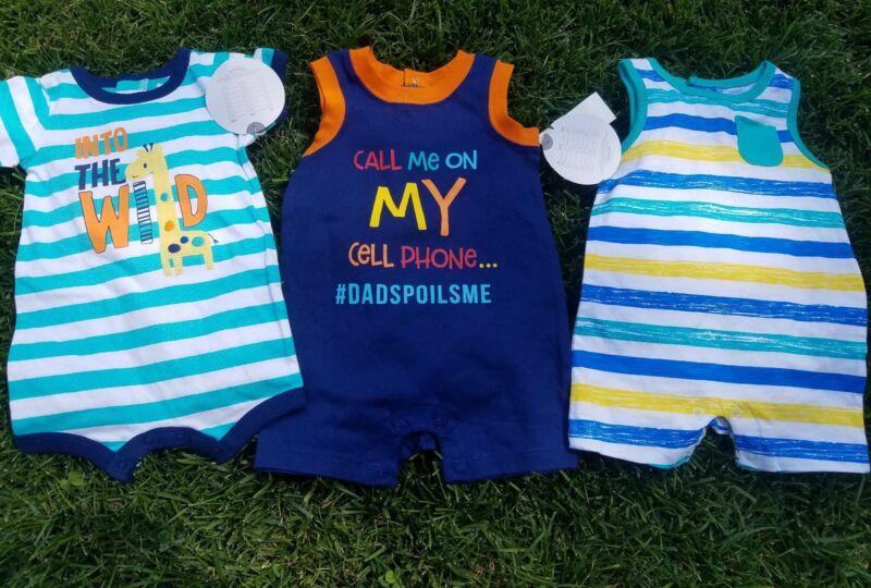Baby Boy Clothes Lot 0-3 Months One Piece, Jumper, Jump Suit NEW TAGS