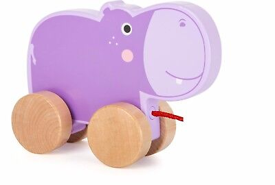 Zieh-Hippo Nachziehspielzeug Nachziehtier Spielzeug Babys Ziehtier Nilpferd Holz