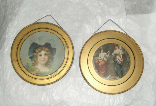 Lot 2 Antique Tin & Glass Flue Covers Litho Prints Victorian Girls - Musicians