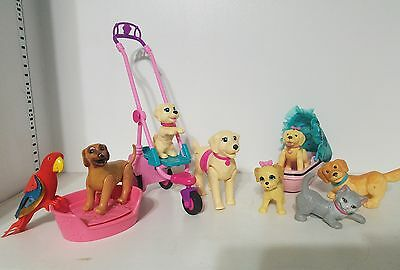 LOT of Barbie Doll PETS ANIMALS DOG CAT PARROT Stroller Veterinary X-ray Dog/Cat