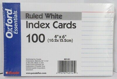 100 Esselte Oxford Index Cards Ruled White New Sealed 4 X 6 Essentials