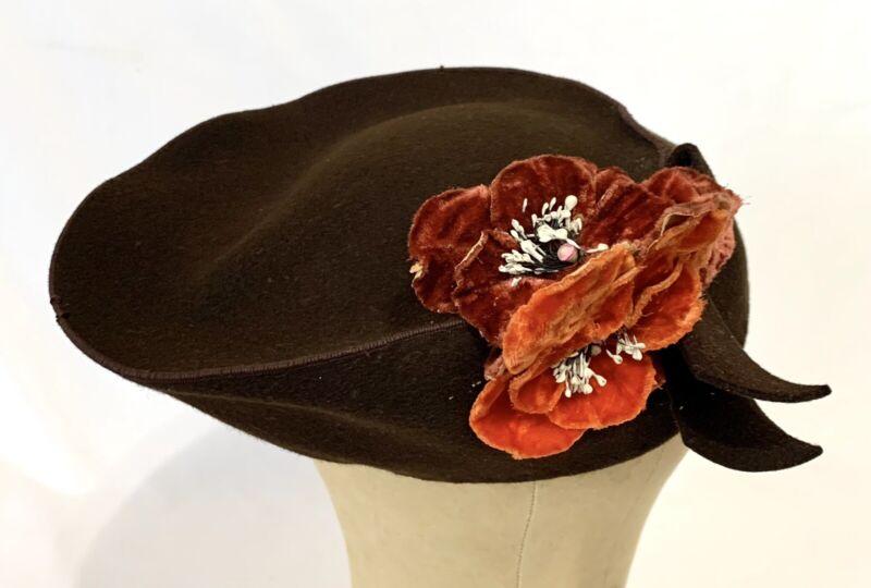 True Vintage 1940s Brown Felt Tilt Hat with Orange Velvet Flowers