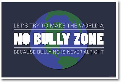 Make The World A No Bully Zone - NEW World Classroom Motivational POSTER