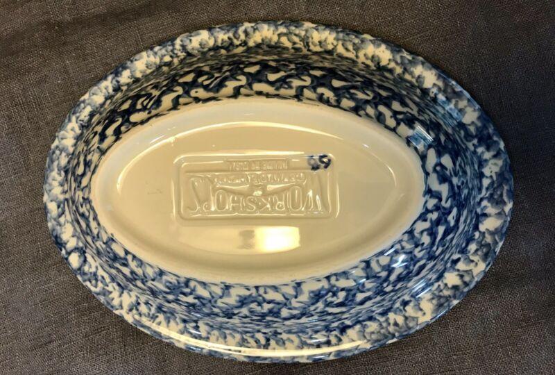 """WORKSHOPS Of GERLAD E. HENN Vintage Blue Spongeware Oval Serving Bowl 10.5"""" x 8"""""""