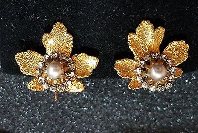 VINTAGE MIRIAM HASKELL SIGNED RUSSIAN GOLD LEAF CLIP BACK EARRINGS