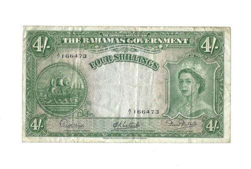 BAHAMAS 4 Shillings 1953, P-13a Higgs-Latreille-Burnside, A/1 Prefix Only, VF