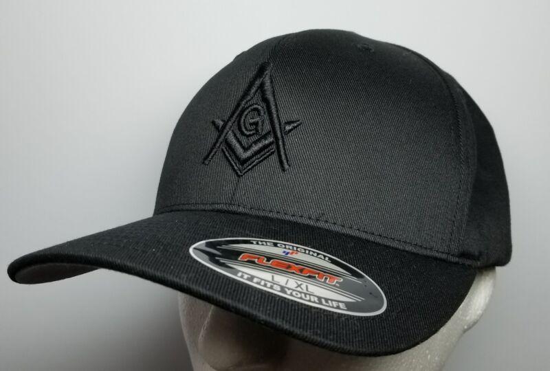 Flexfit Mason Hat 3D Puff Embroidery All Black Cap Masonic Gears