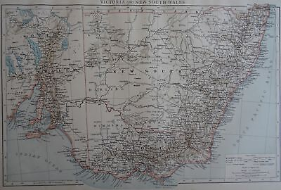 Victorian Map 1896 of AUSTRALIA - VICTORIA & NEW SOUTH WALES Times Atlas 1st Gen