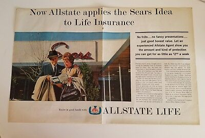 1962 Allstate Applies The Sears Idea To Life Insurance 2 Two Page Ad