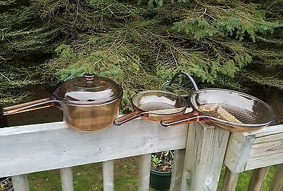 SET OF 3 VINTAGE CORNING AMBER VISIONS COOKWARE 2 SKILLETS AND SAUCEPAN WITH LID