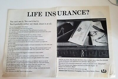 1960S Allstate Life Insurance Co Rather Not Think About It Ad As Is