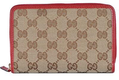 New Gucci 420113 Beige Red Canvas GG Guccissima Medium Zip Around Wallet