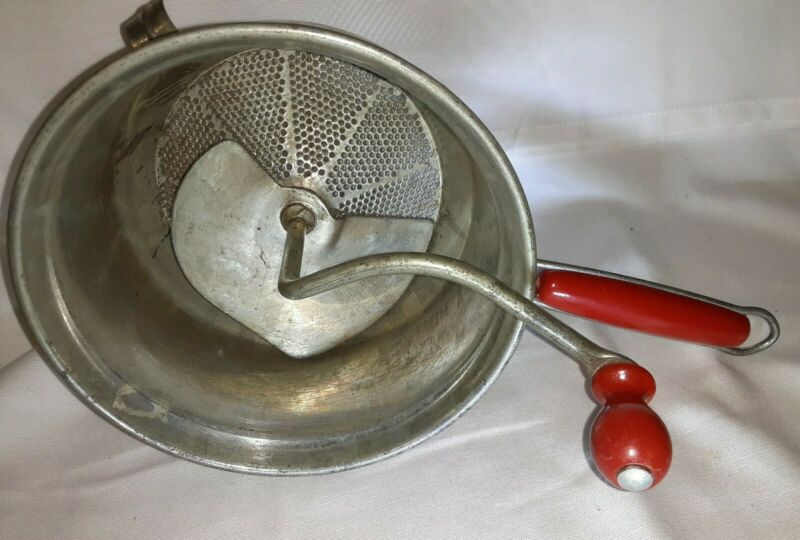 """Vintage Foley 7"""" Food Mill With Very Good Red Wood Handles Retro Kitchen, USA!"""