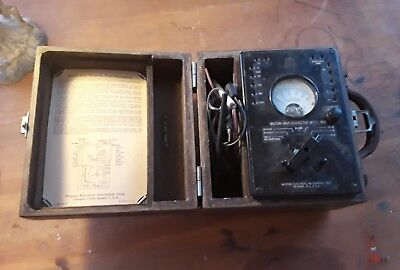 Vintage Weston Model 663 Type 6 Volt - Ohm Meter With Case Steampunk