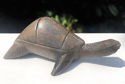Tribal Art Wooden Carved Tortoise Turtle Figure Figurine Sculpture