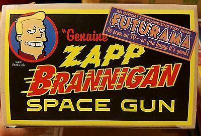 Futurama Genuine Zapp Brannigan Space Gun Tin Toy NEW MIB Faux Sparking Action