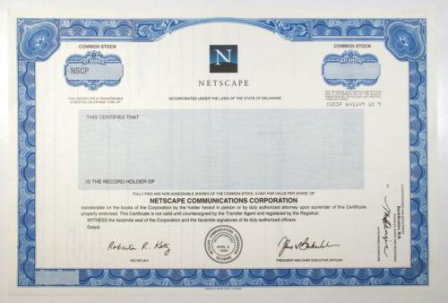 1990s NETSCAPE COMMUNICATIONS Stock Certificate SPECIMEN Odd Shares