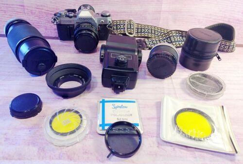 Vintage CANON AE-1 35mm Film Camera Vivitar Zoom Lens Flash Filters Strap Extras