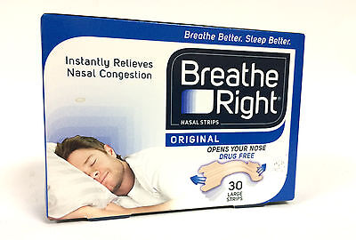BREATHE RIGHT DRUG-FREE NASAL STRIPS 30 LARGE STOP SNORING & GOOD FOR SPORTS NEW