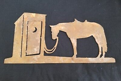 Horse Metal Art - HORSE & OUTHOUSE Metal Western Country Wall Art Home Decor RUSTIC finish