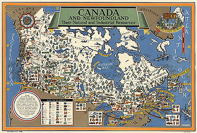 Vintage Map Canada Newfoundland Natural Industrial Resources Wall Art Poster