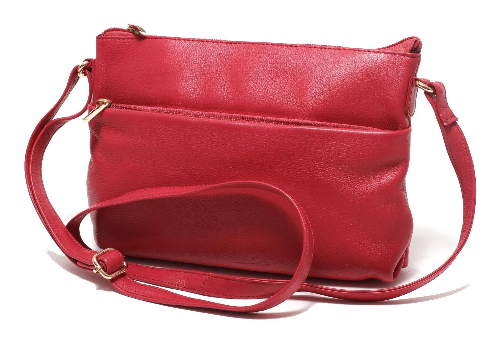 Leder Damen Handtasche rot Ledertasche Clutch Schultertasche Abend Tasche Bag