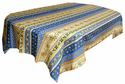 "Le Cluny 60"" x 120"" Rectangular COATED Provence Tablecloth - Monaco Down in the mouth"