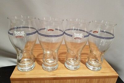 "RARE NOS Samuel ""Sam"" Adams Boston Lager Sensory Pint Beer Glass 16 oz Set of 4"