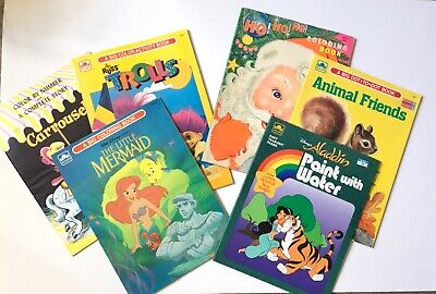 SIX VINTAGE 70's- 90's CHILDREN'S COLORING/ACTIVITY BOOKS, 3 UNUSED, 3 LT. USE