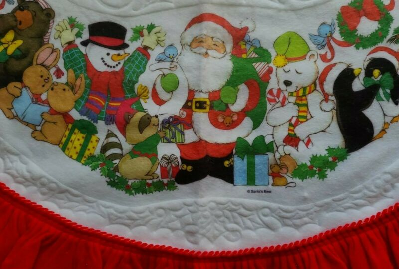 Vtg Santas Best Christmas Tree Skirt White Felt Santa Animals Snowman wildlife