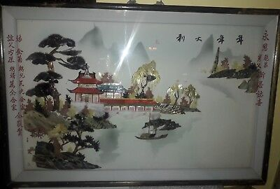 Blessed Shadow Box Frame - Chinese, Wood Framed Shadow Box - Mother of Pearl - Pagoda - Blessing 36