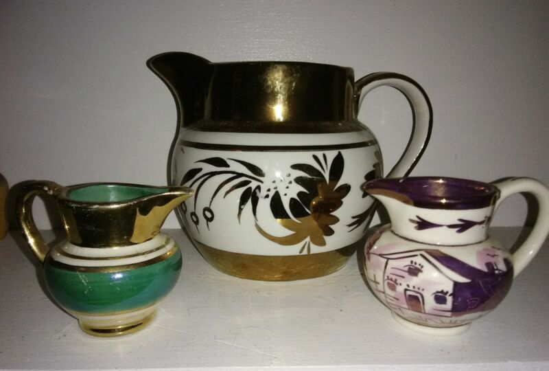 "3 Antique Copper Luster pitchers James Kent 4"" Cumbow & Old Castle Minitures"