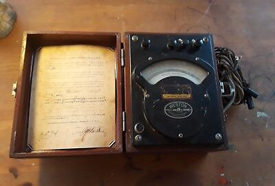 Antique Vintage Weston Voltmeter Wcase Model 341 Dated 1918 Untested Steampunk