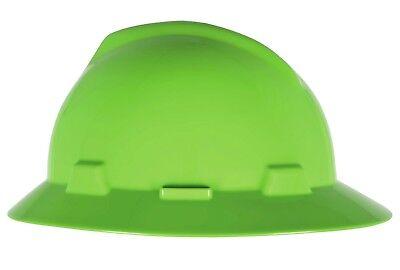 Msa V-gard Full Brim Hard Hat With Ratchet Suspension Hi-viz Green