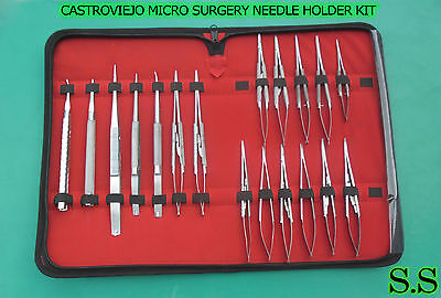 Set Of 20 Castroviejo Micro Surgery Needle Holder Curvedstraight Kit