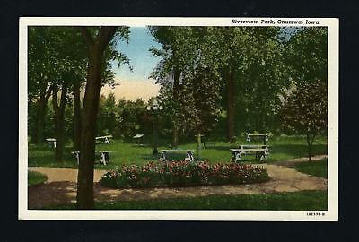 Globe Park Lamp - Ottumwa Iowa IA c1940s Linen, Riverview Park, Benches, 5 Globe Lamp Post Light
